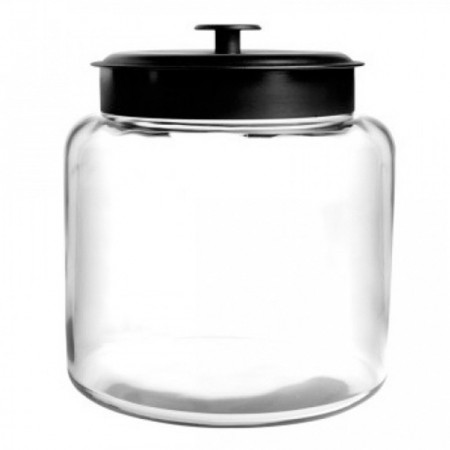Anchor Hocking Montana Glass Jar with Black Metal Lid 1.4L