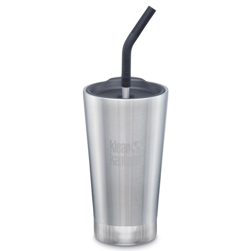 Klean Kanteen Insulated Tumbler with Straw 16oz 473ml - Brushed Stainless