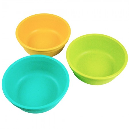Re-Play recycled bowls (3) - beach (aqua, green & orange)