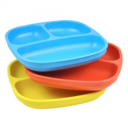Re-play divided plates (3) - primary colours (red, blue & yellow)