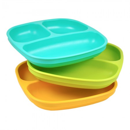 Re-Play recycled divided plates (3) - beach (aqua, green & orange)