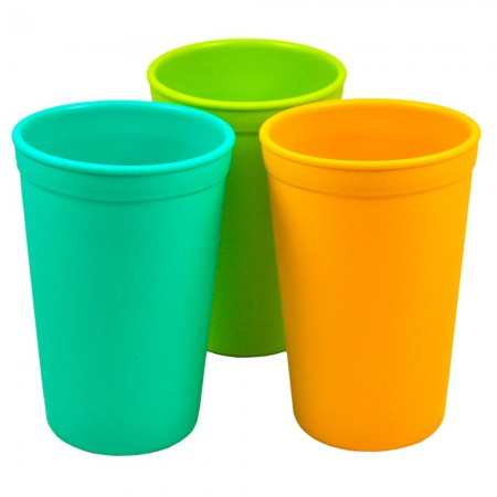 Re-Play recycled tumblers (3) - beach (aqua, green & yellow)