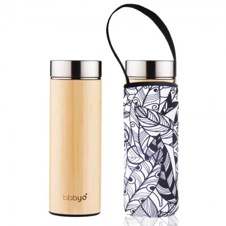 BBBYO Bamboo & Stainless Steel Tea Flask 500ml - Feather
