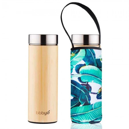 BBBYO Bamboo & Stainless Steel Tea Flask 500ml - Banana Leaf