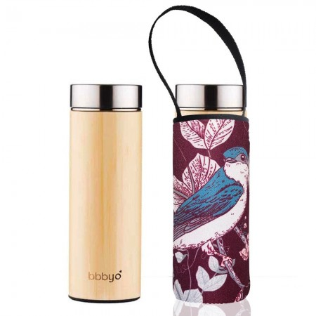 BBBYO Bamboo & Stainless Steel Tea Flask 500ml - Blue Bird
