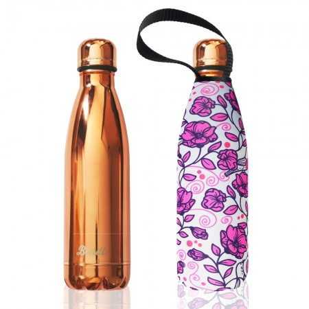 BBBYO Stainless Steel Water Bottle with Cover 500ml - Pink Rose