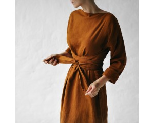 Seaside Tones Long Sleeve Belted Dress Mustard
