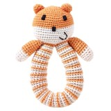 Pebble Crochet Bear Ring Rattle - Orange