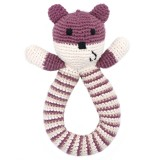 Pebble Crochet Bear Ring Rattle - Purple