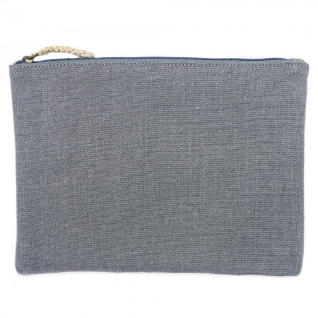 The Dharma Door Jute Canvas Flat Pouches - Ash