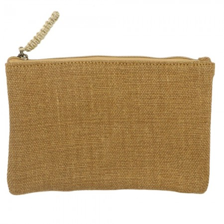 The Dharma Door Jute Canvas Flat Pouches - Camel