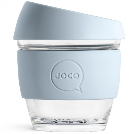 JOCO Small Glass Coffee Cup 235ml 8oz - Vintage Blue