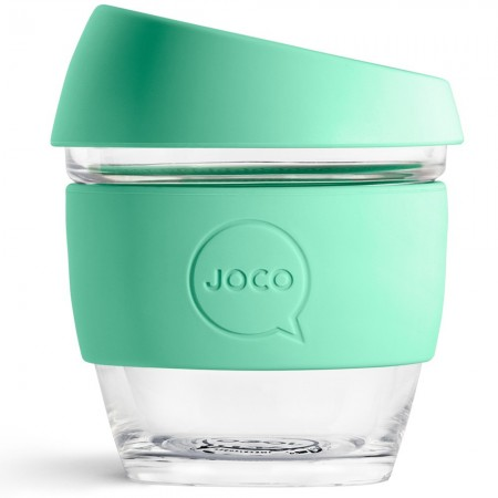 JOCO Small Glass Coffee Cup 235ml 8oz - Vintage Green