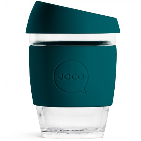 JOCO glass reusable coffee cup 350ml 12oz - deep teal