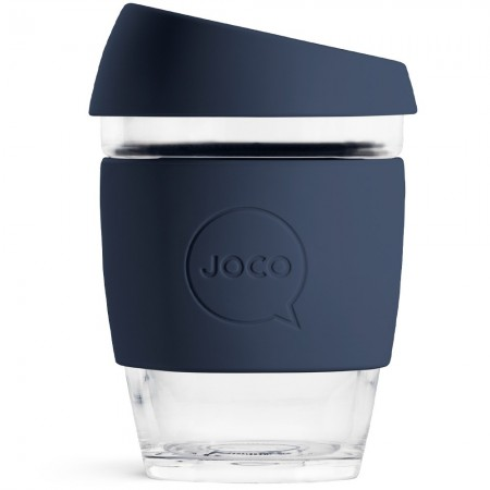 JOCO Glass Reusable Coffee Cup 350ml 12oz - Mood Indigo