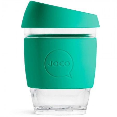 JOCO glass reusable coffee cup 350ml 12oz - mint