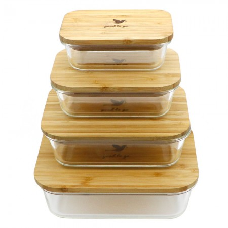 Biome glass container with bamboo lid large 1040ml