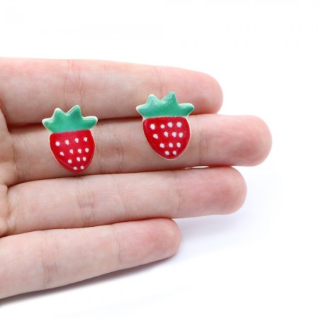 Paper Boat Press Earrings - Strawberry