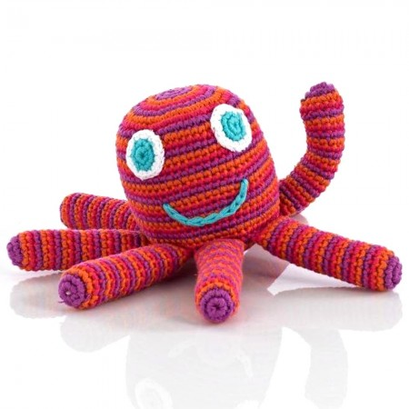 Pebble Crochet Octopus Rattle - Dark Pink