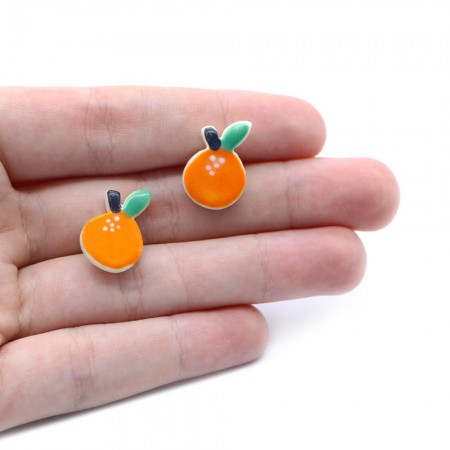 Paper Boat Press Earrings - Orange