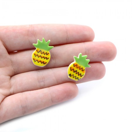 Paper Boat Press Earrings - Pineapple