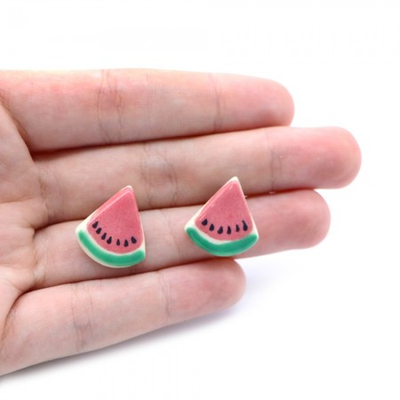 Paper Boat Press Earrings - Watermelon