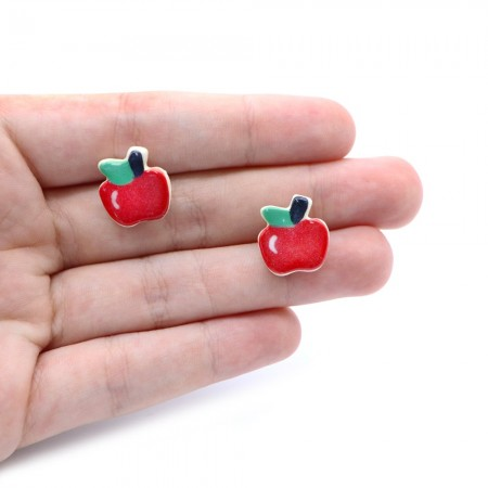 Paper Boat Press Earrings - Apple