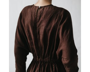 Seaside Tones Linen Dress Brown