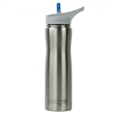 EcoVessel Summit Insulated Water Bottle 700ml - Silver Express