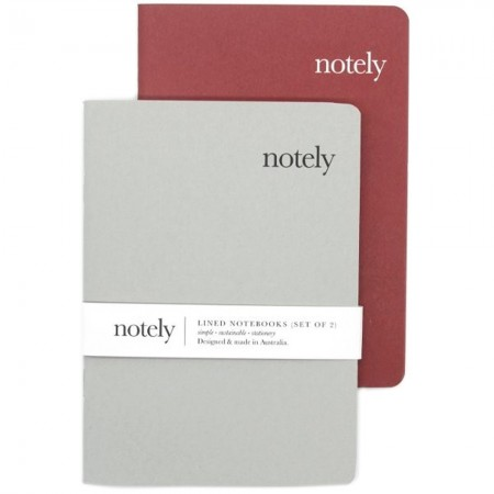 Notely Lined Pocket Notebook Set A6 - Grey/Red