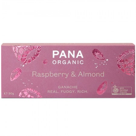 Pana Organic Chocolate Ganache Bar 80g - Raspberry & Almond