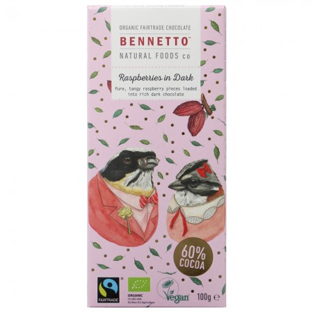 Bennetto Organic Dark Chocolate 100g - Raspberries