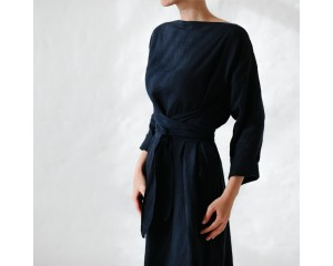 Seaside Tones Long Sleeve Belted Dress Navy