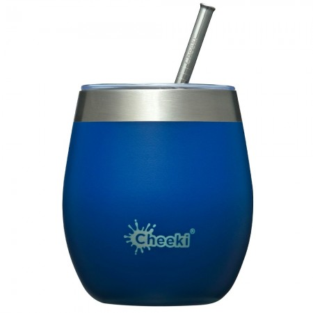 Cheeki Insulated Wine Tumbler with Straw 220ml - Sapphire Blue