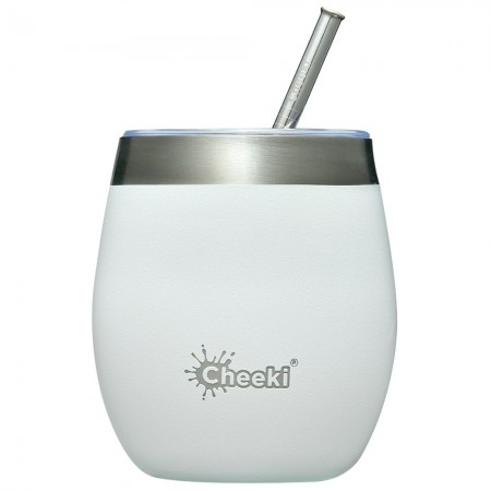 Cheeki Insulated Wine Tumbler with Straw 220ml - Spirit White
