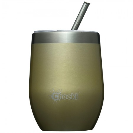 Cheeki Insulated Wine Tumbler with Straw 320ml - Soft Gold