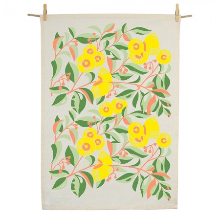 Earth Greetings Organic Cotton Tea Towel - Lemon-scented Gum