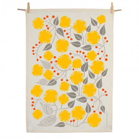 Earth Greetings Organic Cotton Tea Towel - Golden Wattle