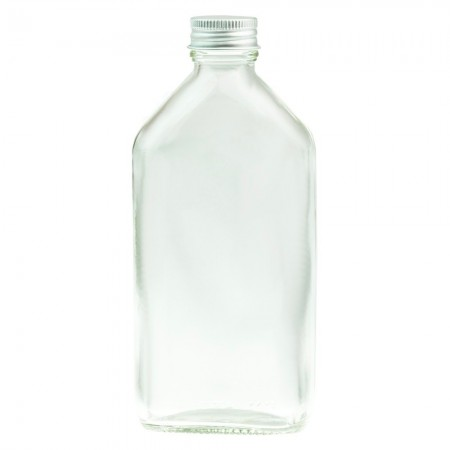 Clear Glass Oval Bottle with Silver Cap 200ml