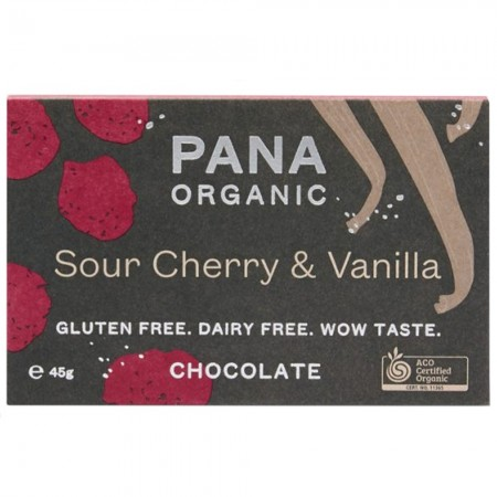 Pana Organic Vegan Chocolate 45g - Sour Cherry & Vanilla