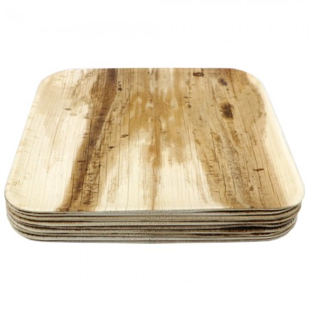 Palm Leaf Dinner Plates 10pk - Square