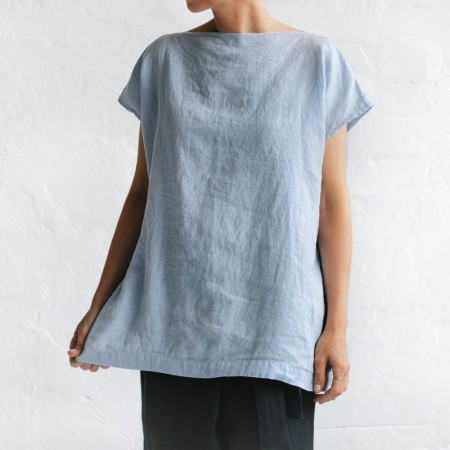 Seaside Tones Square Linen Top Blue