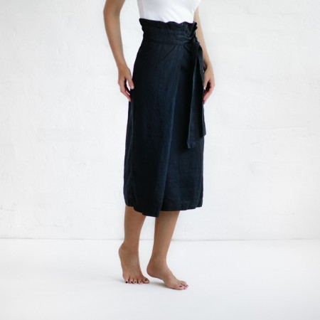 Seaside Tones Belted Skirt Navy