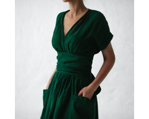 Seaside Tones Wrap Dress Green S