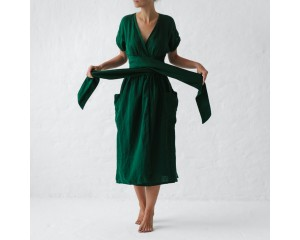 Seaside Tones Wrap Dress Green M