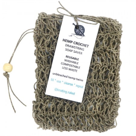 Knotting Naked Hemp Crochet Soap Saver Bag with Drawstring