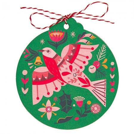 Earth Greetings Christmas Tag 8pk - Flame Robin