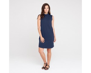 Dorsu Roll Neck Shift Dress - Navy