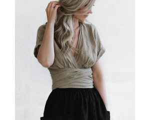 Seaside Tones Wrap Top Beige