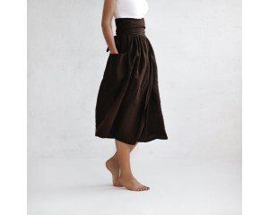 Seaside Tones Wrap Skirt Brown
